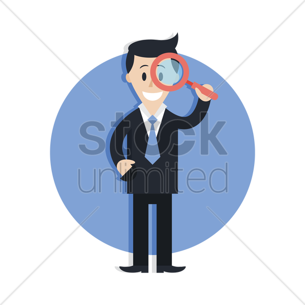 businessman with magnifying glass vector graphic