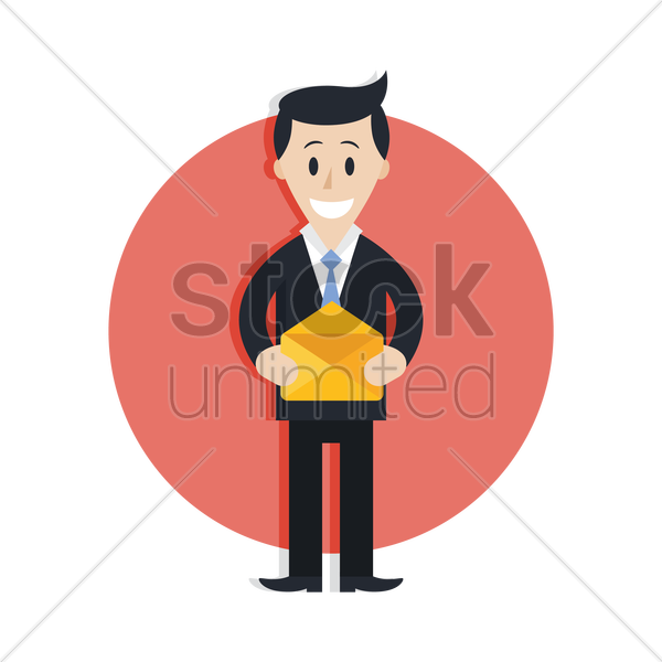 businessman with mail vector graphic