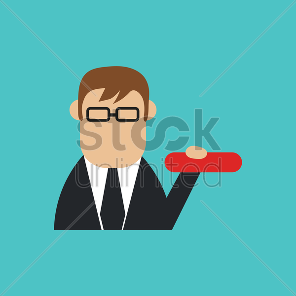 businessman with minus sign vector graphic