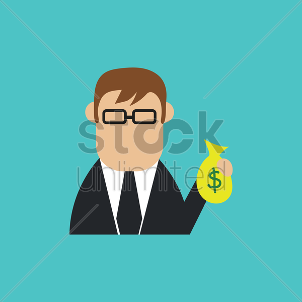 businessman with money bag vector graphic