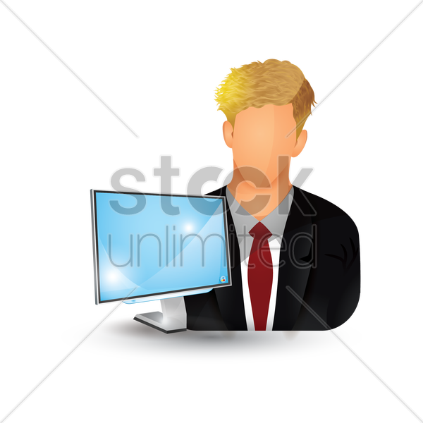 businessman with monitor vector graphic