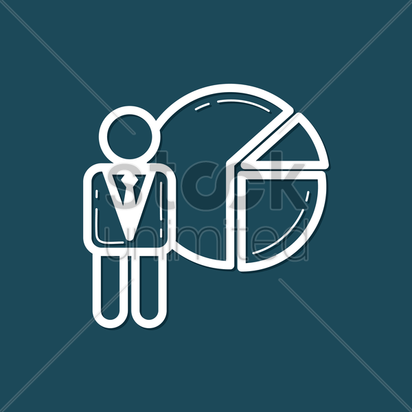 Free businessman with pie chart vector graphic