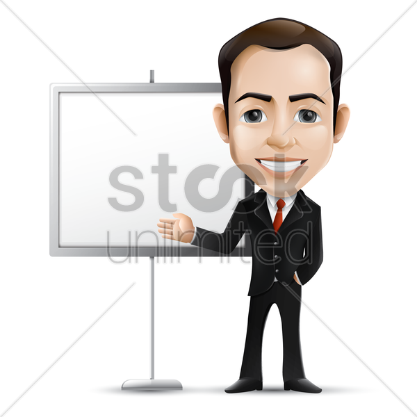 businessman with presentation board vector graphic