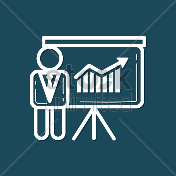 Free businessman with presentation board vector graphic