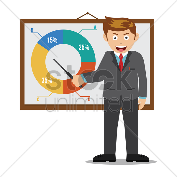 businessman with presentation vector graphic