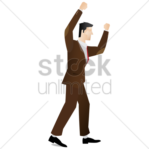 businessman with raised hands vector graphic