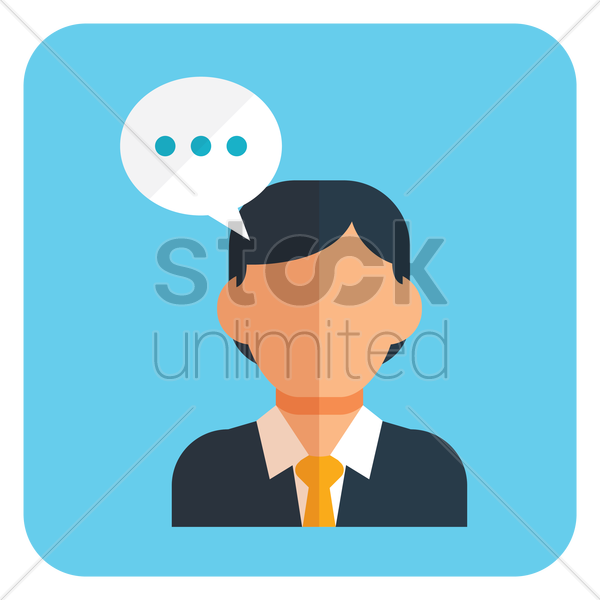 businessman with speech bubble vector graphic