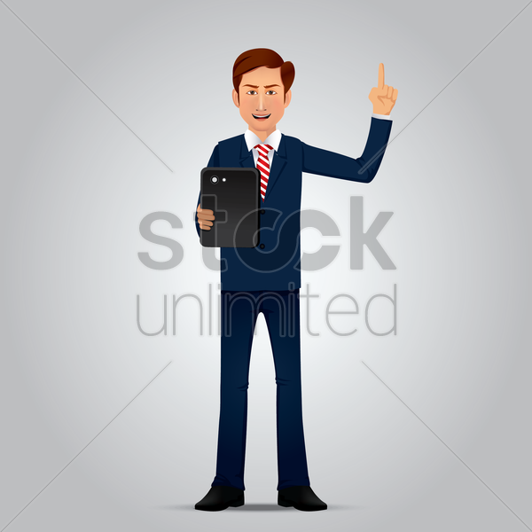 businessman with tablet vector graphic
