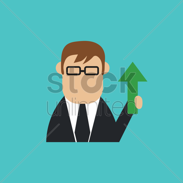 businessman with up arrow vector graphic