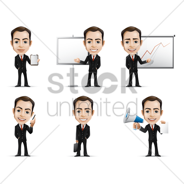 businessman with various activities vector graphic