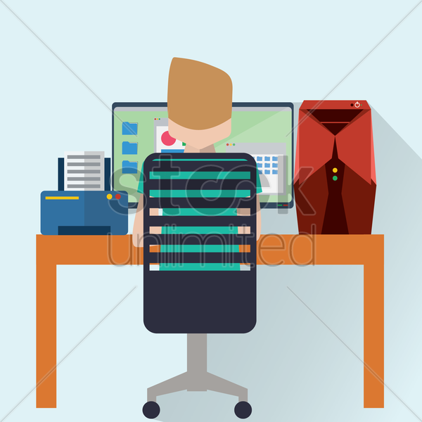 businessman working vector graphic