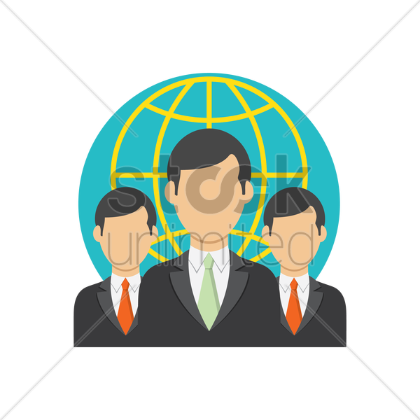 Free businessmen and globe icon vector graphic