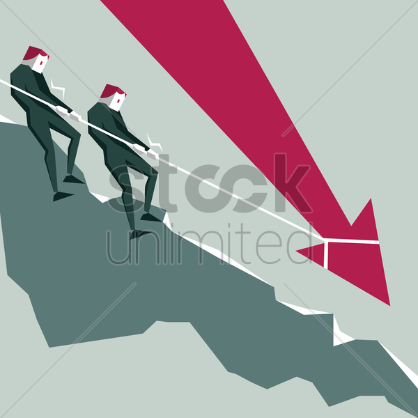 businessmen pulling arrow using rope vector graphic