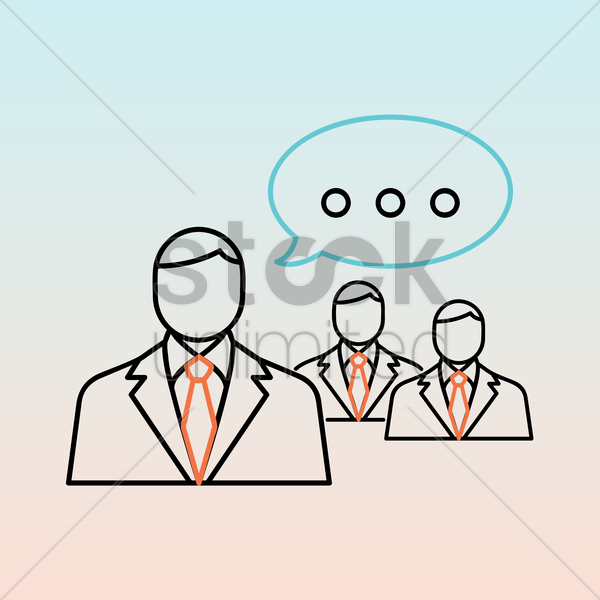 businessmen with speech bubble vector graphic