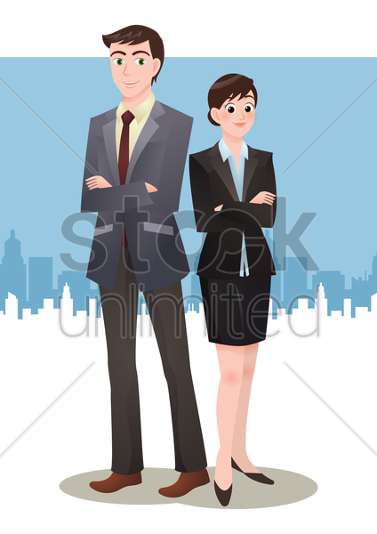 businesspeople standing with hands folded vector graphic