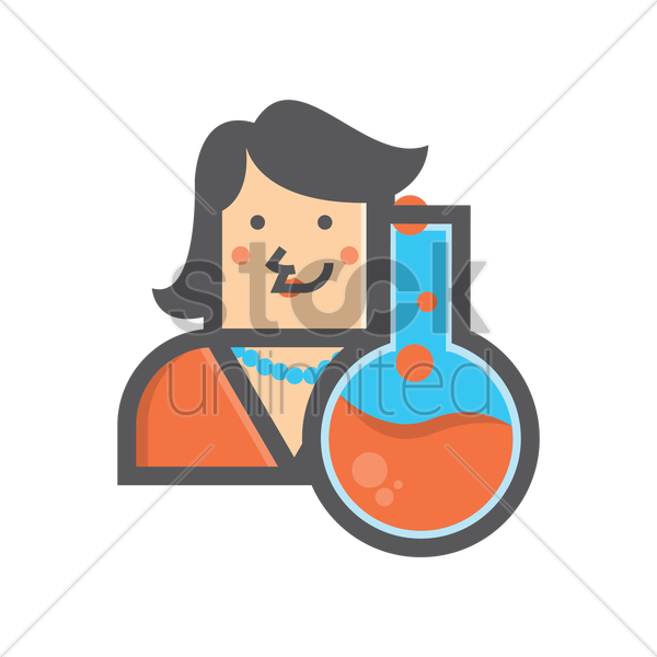 Free businesswoman and boiling flask vector graphic