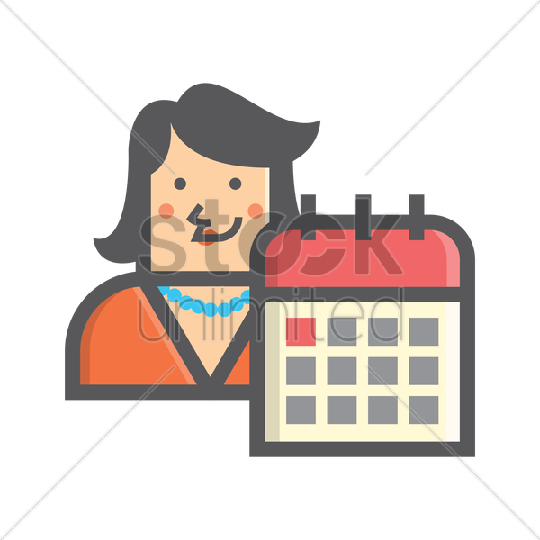 Free businesswoman and calendar vector graphic