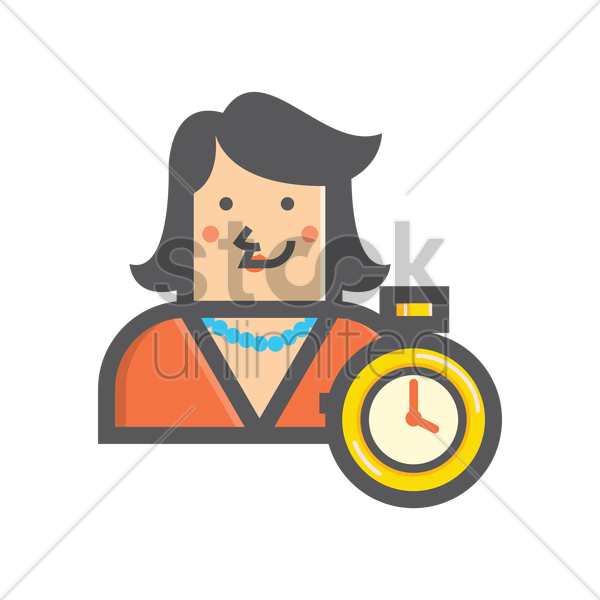 Free businesswoman and timer vector graphic