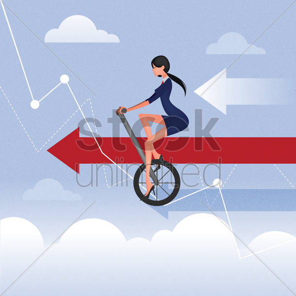 businesswoman cycling on graph vector graphic