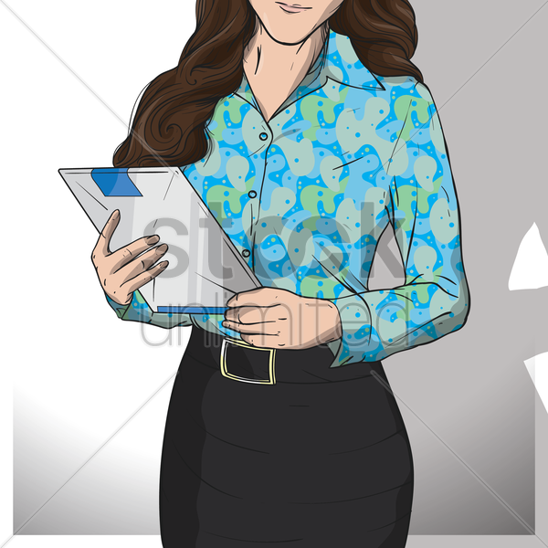 businesswoman holding clipboard vector graphic