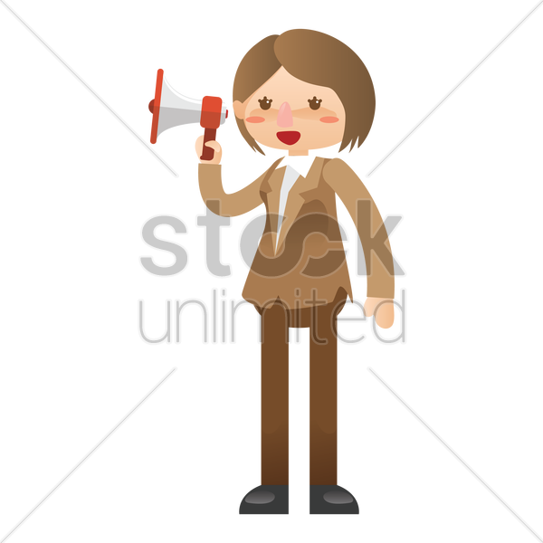 businesswoman holding megaphone vector graphic