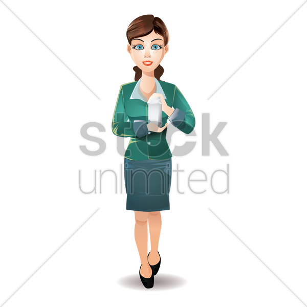 businesswoman holding milk pack vector graphic