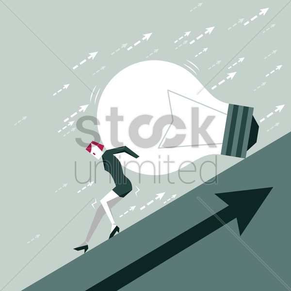 businesswoman pushing bulb vector graphic