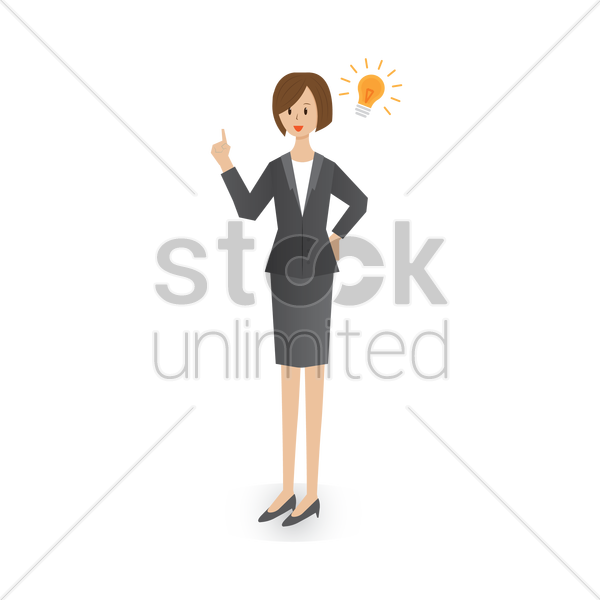 businesswoman with an idea vector graphic