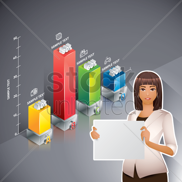 businesswoman with bar graph vector graphic