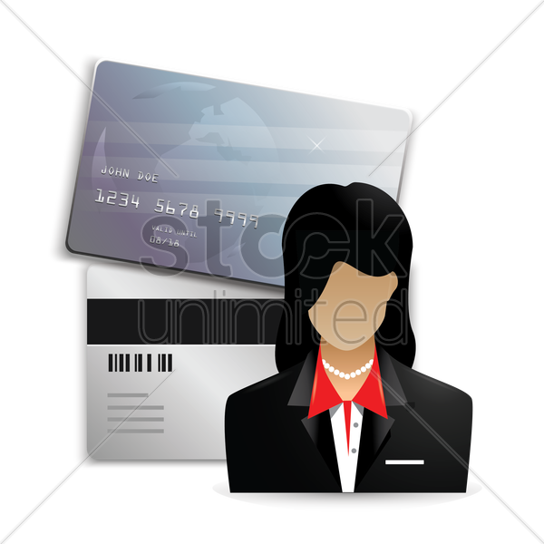 businesswoman with cash card vector graphic