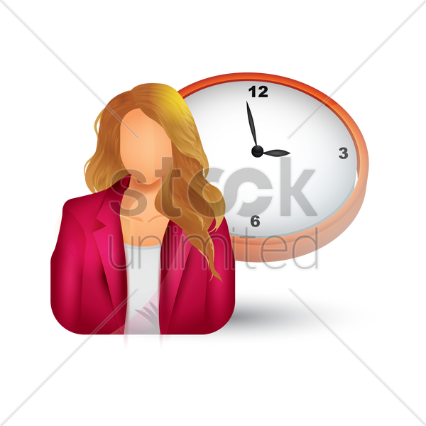 businesswoman with clock vector graphic