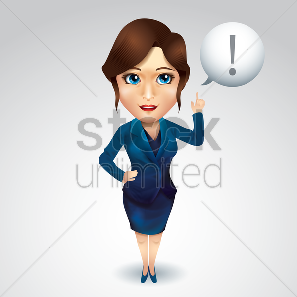 businesswoman with exclamation mark vector graphic