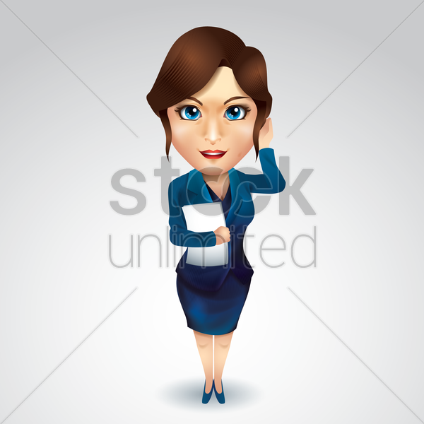 businesswoman with file vector graphic