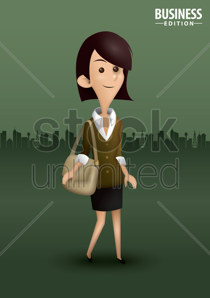 businesswoman with handbag vector graphic