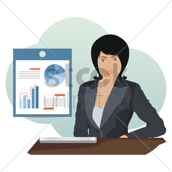 businesswoman with presentation vector graphic
