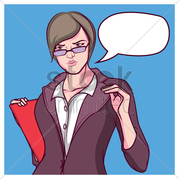 businesswoman with speech bubble vector graphic