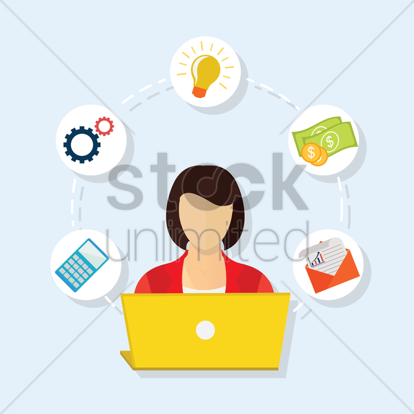 businesswoman working on laptop vector graphic