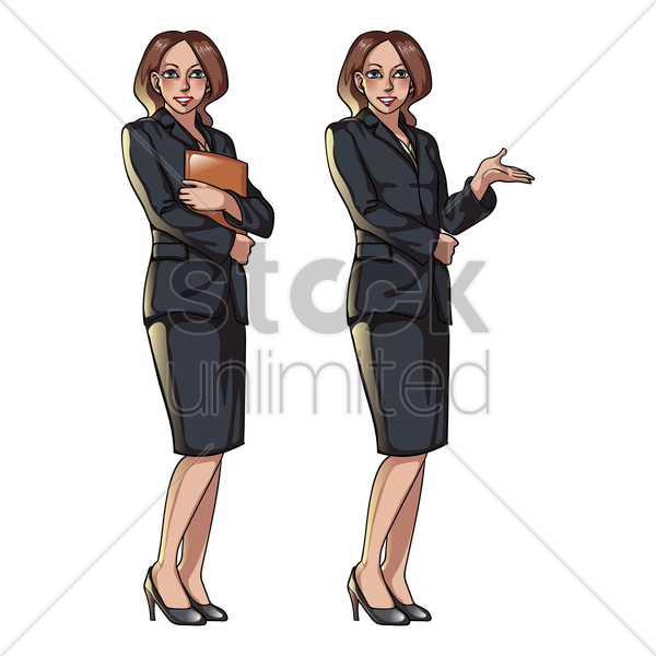 businesswomen with action vector graphic