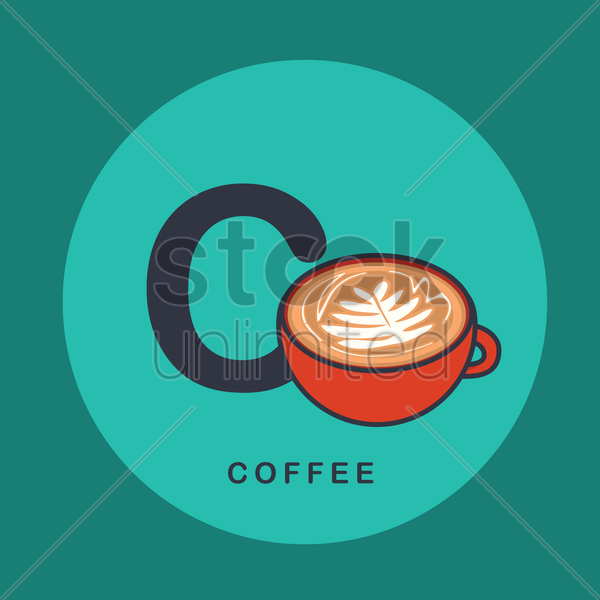 c for coffee vector graphic