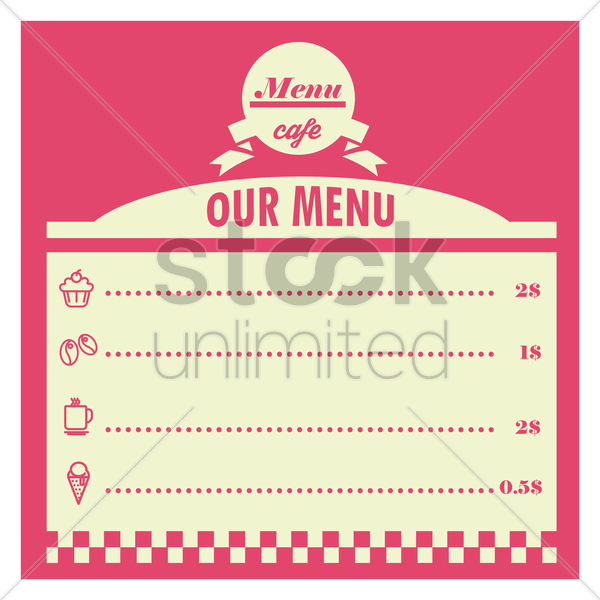 cafe menu card design vector graphic