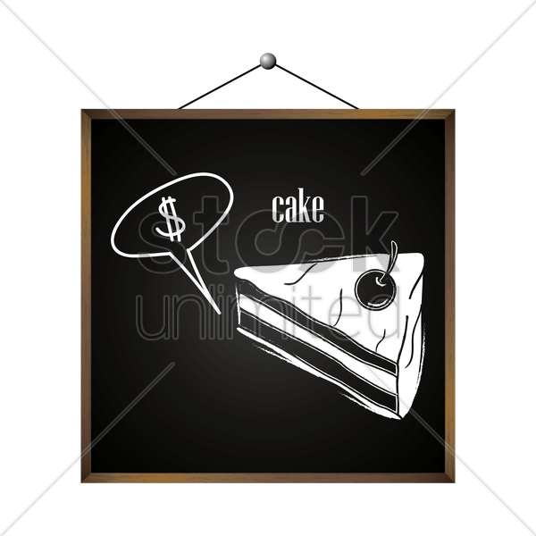 cake with dollar sign in speech bubble vector graphic