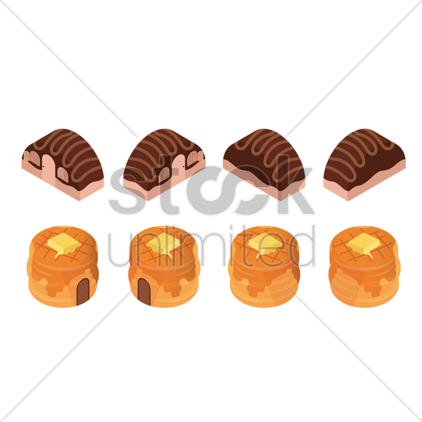 cakes and pancakes vector graphic