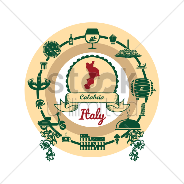 calabria map label vector graphic