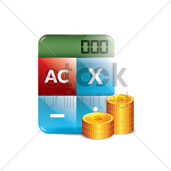 calculator with dollar coins vector graphic