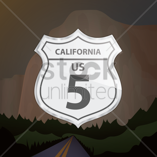 california 5 route sign vector graphic
