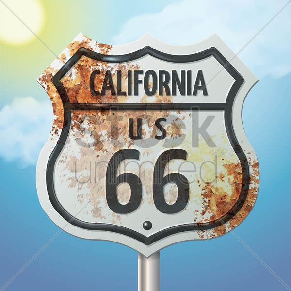 california 66 route sign vector graphic