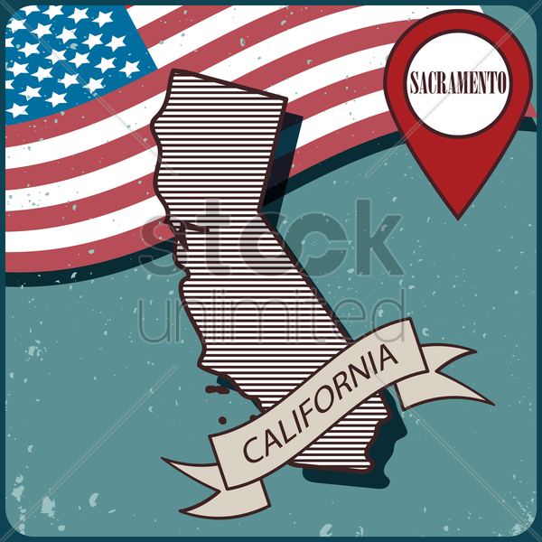 california map label vector graphic