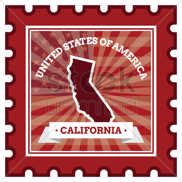 california postage stamp vector graphic