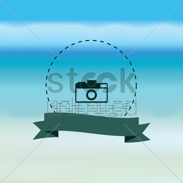 camera with banner vector graphic