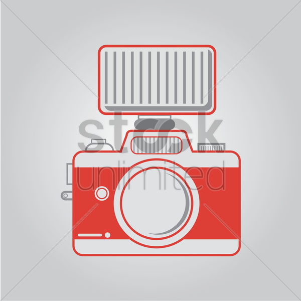 camera with flash vector graphic
